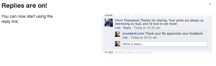 Facebook replies are ON