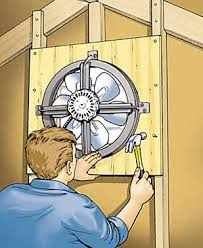 Gable fan being installed