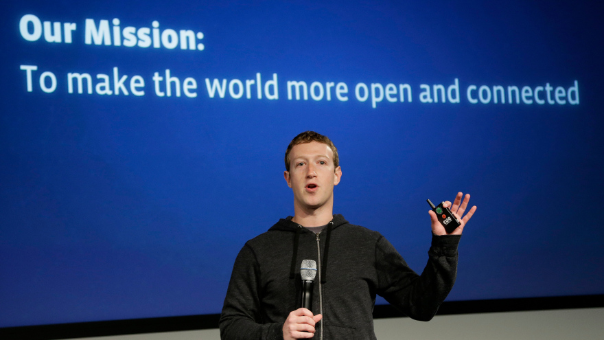 Mark Zuckerberg presenting for Facebook