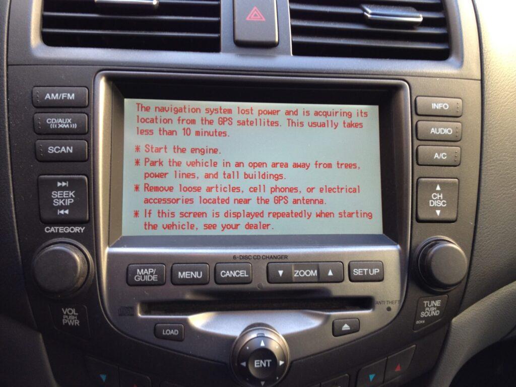 Display procedure to reset GPS navigation in a 2006 Honda Accord EX sedan
